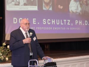 Don E. Schultz speaking at an event.