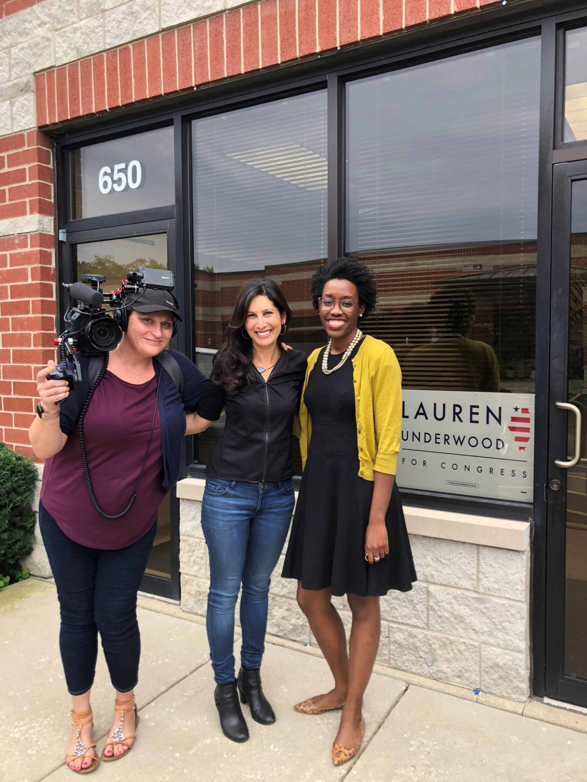 Wendy Sachs with Lauren Underwood during her 2018 campaign and SURGE cinematographer Margaret Byrne.