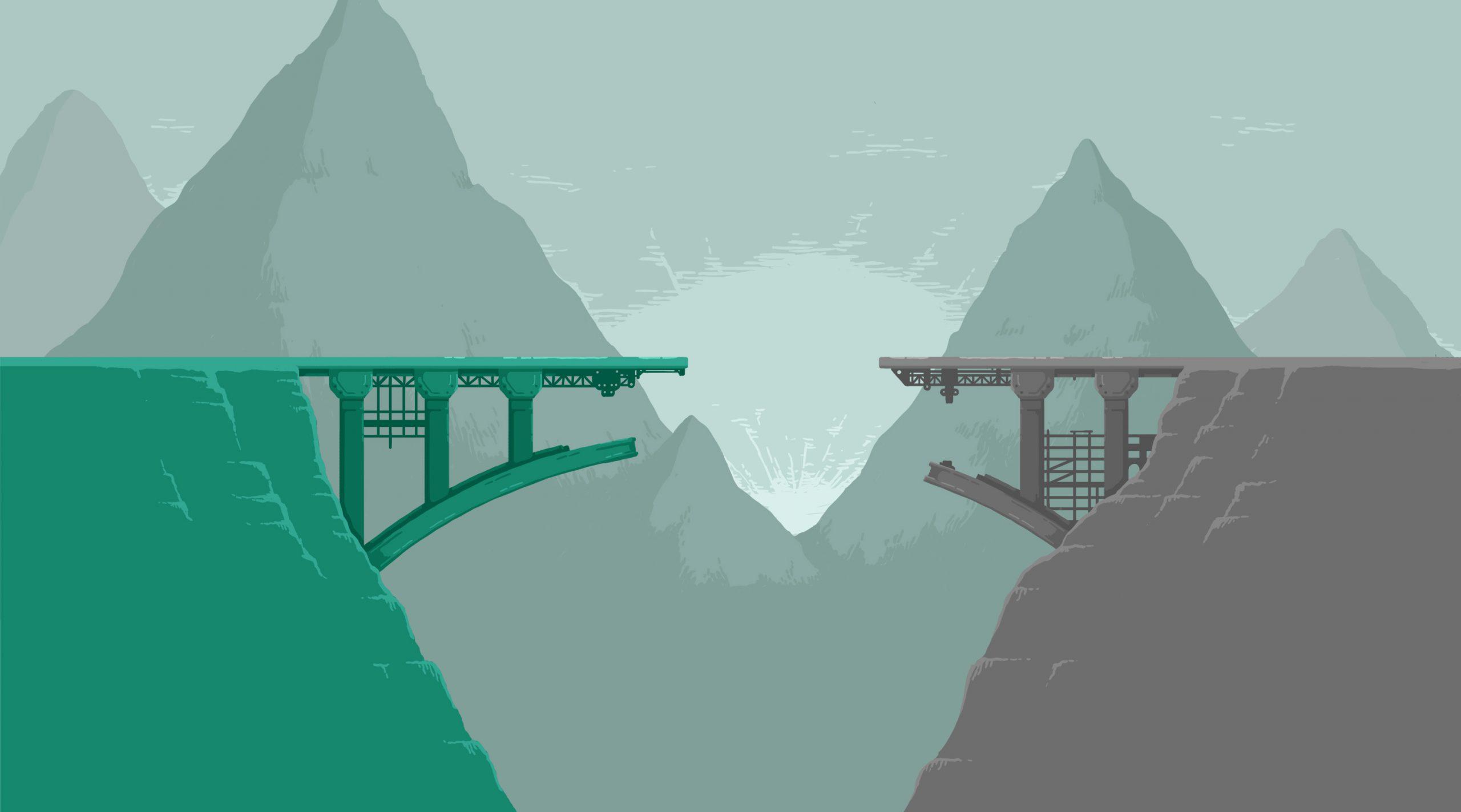 Graphic of a broken bridge.