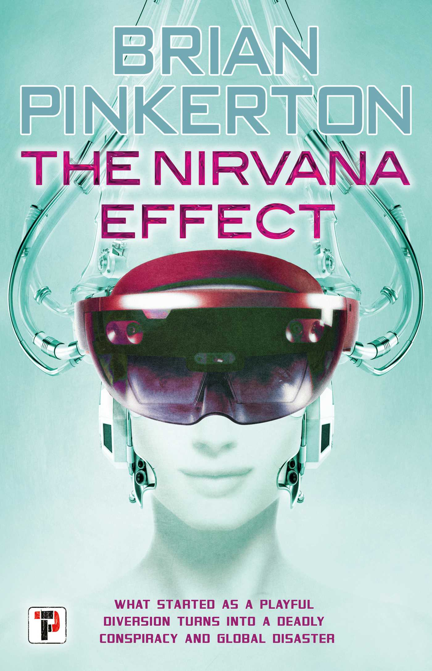 Book jacket with image of face wearing VR goggles.